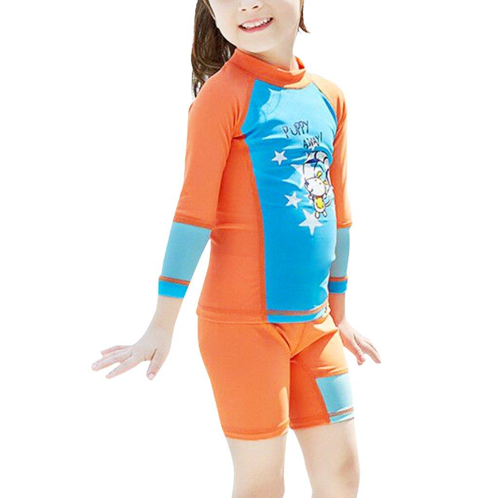 Ragazzi Ragazze Due Pezzi Muta Da Sub Costume Da Bagno - Bambini Rashguard Manica Lunga Muta Protezione Solare UV 50+ Bambino Piccolo Body Spiaggia