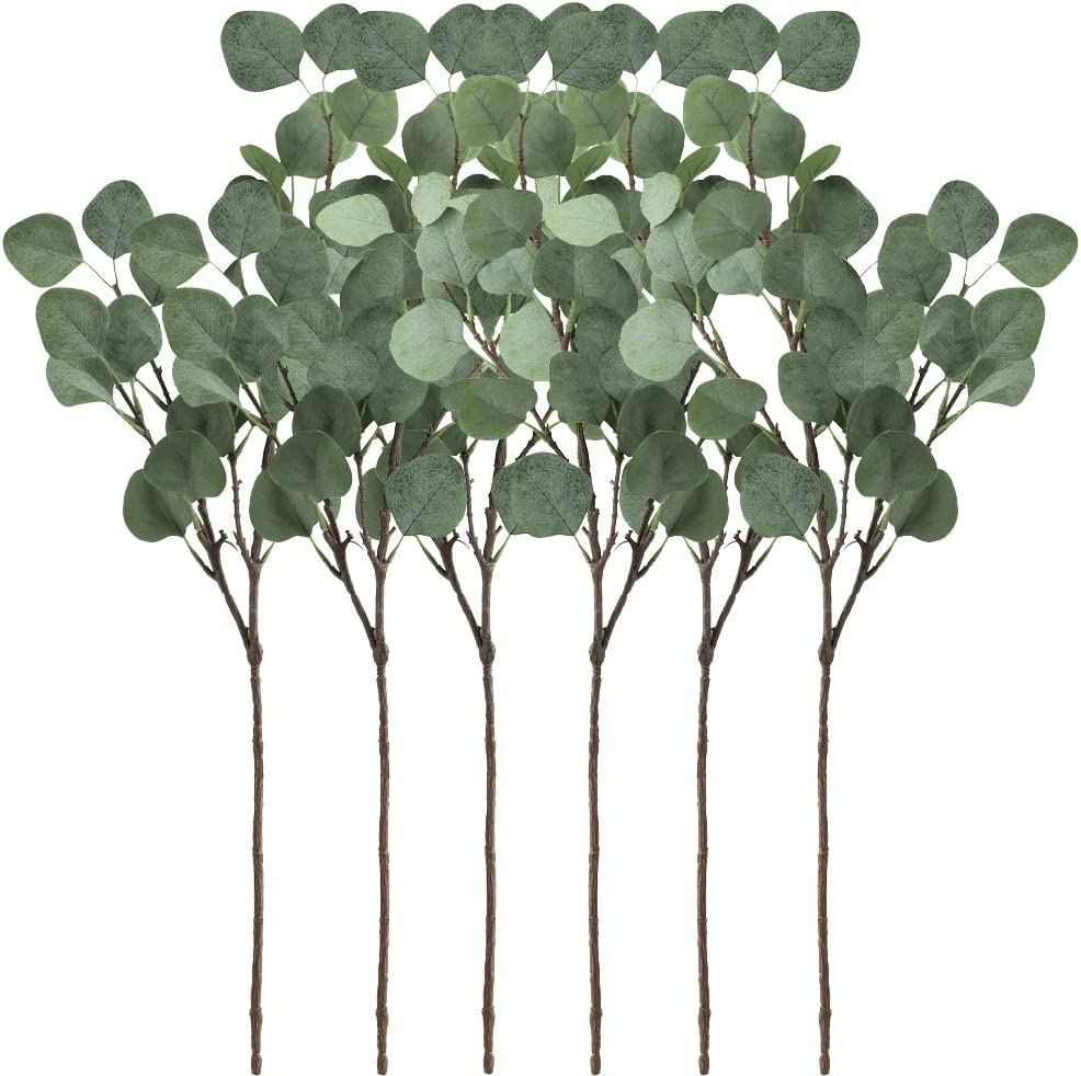 "Supla 6 Pcs Artificial Silver Dollar Eucalyptus Leaf Spray in Green 25.5"" Tall Artificial Greenery Holiday Greens Christmas Greenery"