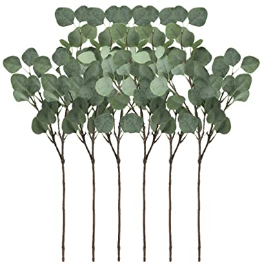 Supla 6 Pcs Artificial Silver Dollar Eucalyptus Leaf Spray in Green 25.5  Tall Artificial Greenery Holiday Greens Christmas greenery