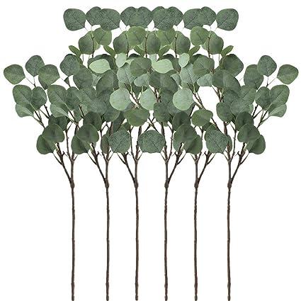 Supla 6 pcs artificial plata Dólar eucalipto Spray de hojas en color ...