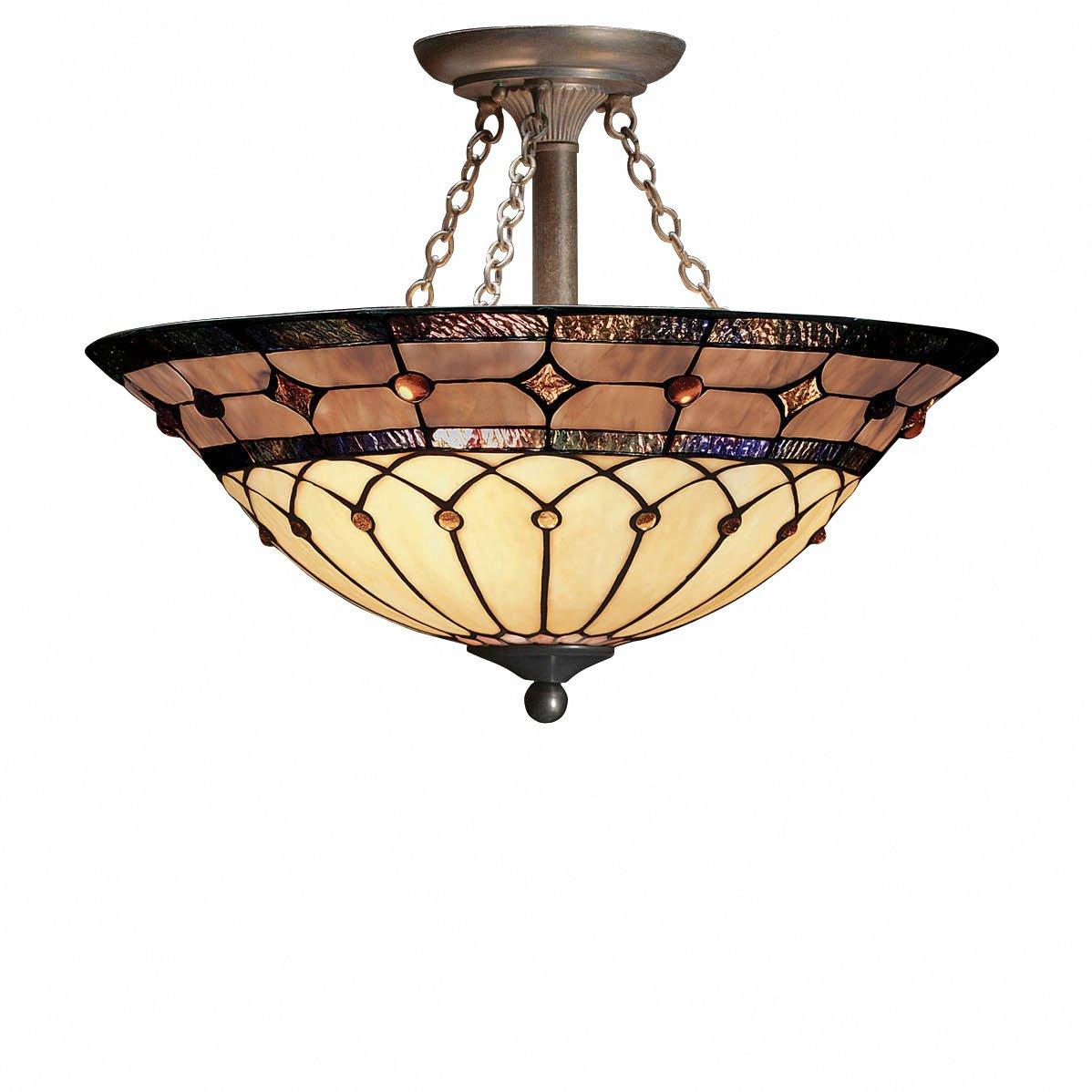 Kichler 69048 3 Light Dunsmuir Art Glass Semi Flush Ceiling Nouveau Bronze Finish Mount Fixtures Com