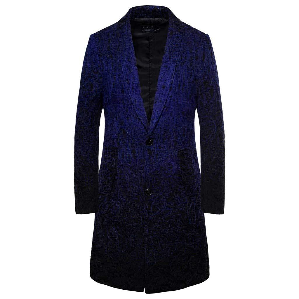 ZhixiaYS Men's Trench Coat Long Jacket Winter Trim Outwear Coat Business Jacket Topcoat Navy by ZhixiaYS