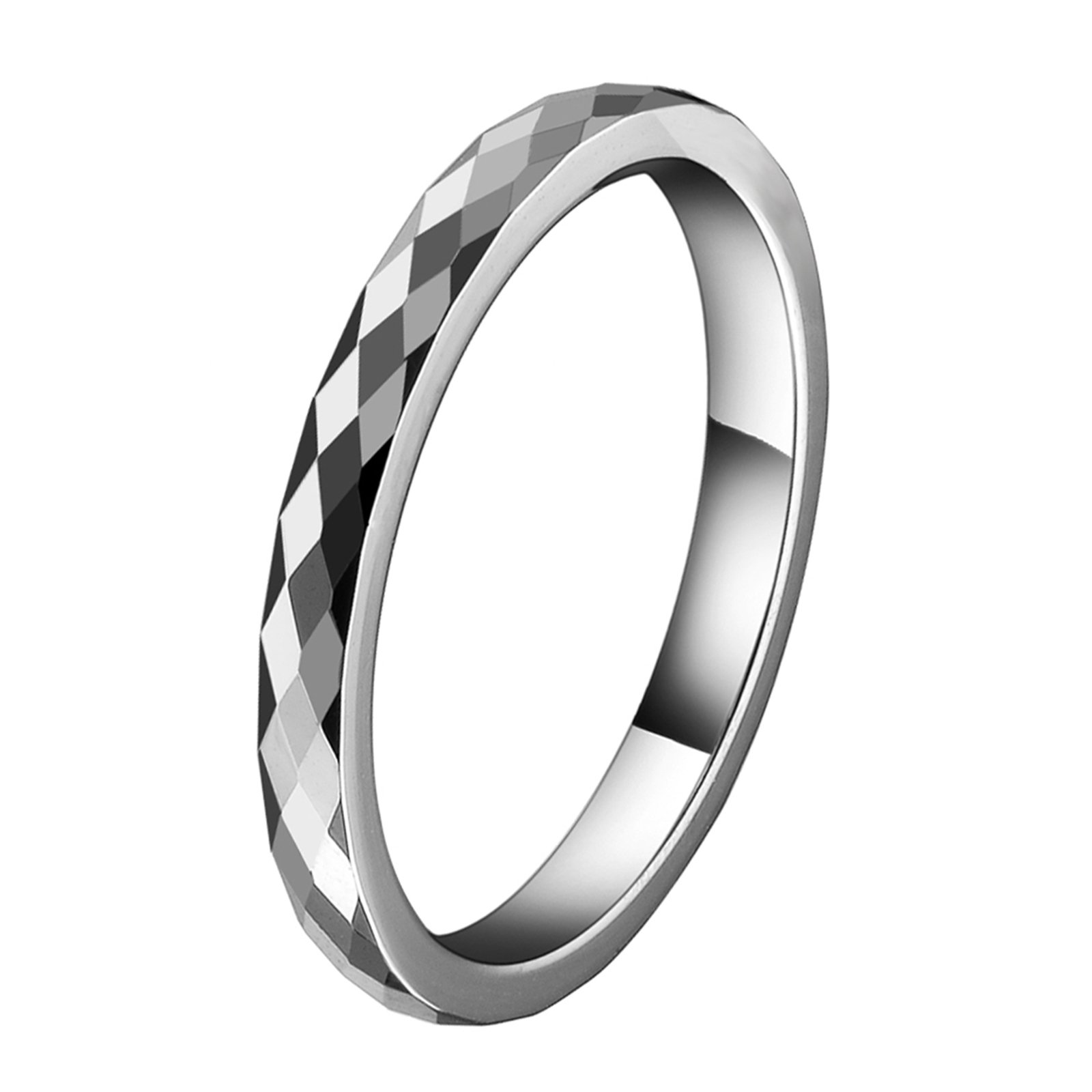 AW Tungsten Wedding Band Ring - 2mm Women's Multi-Faceted Comfort Fit Engagement Anniversary Ring, Size 10