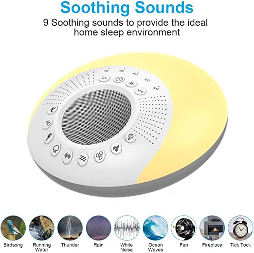 Otreeskin Sleep Sound Machine with Night Light White Noise Machine Sleep Soother Timer Setting Support Memory TF Card for Baby Kid Adult Sleeping Sound Machine Home Office Travel 9 Sounds