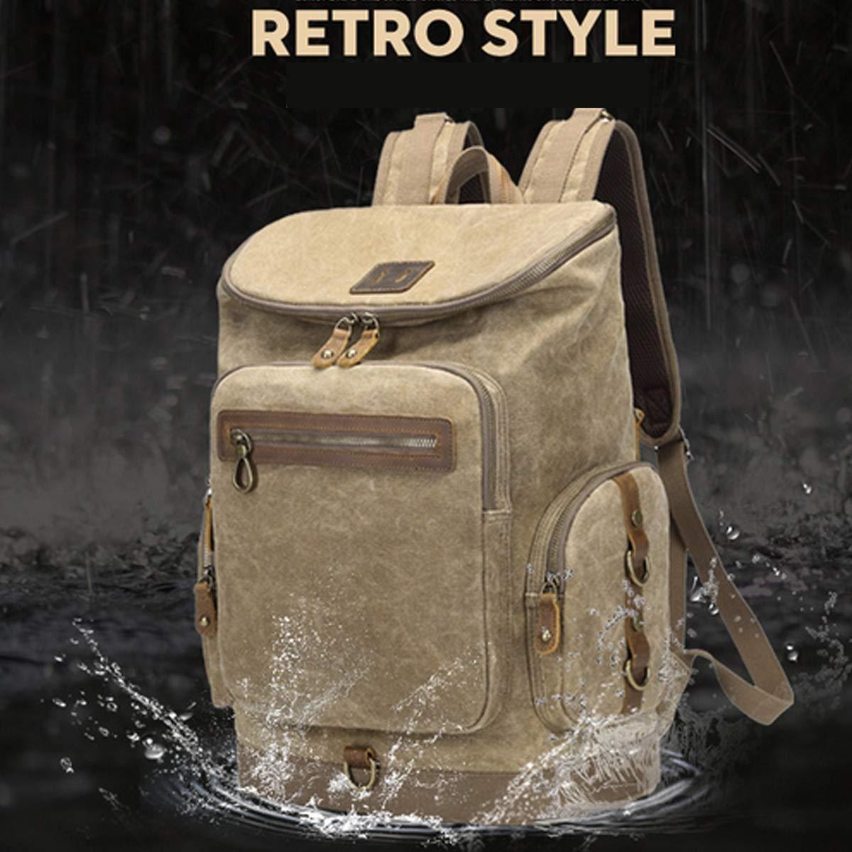 Travel Essential Waterproof Handbag Brown 16 Inches Xionghaizi Duffel Bag,Canvas Backpack Color : Khaki Portable