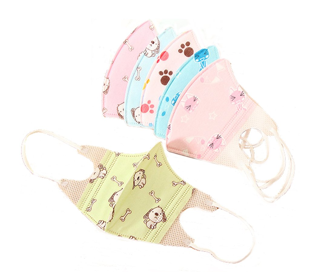 20 Pcs Cute Kids' Face Mask,Flyusa 3 Layer Cartoon Print Disposable Non-Woven Fabric Anti Dust Filter Anti Flu Pollution Earloop Face Mouth Mask Covers for Baby Kids Children