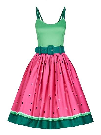 Collectif Jade Watermelon Swing Dress, Kleid, 50er: Amazon
