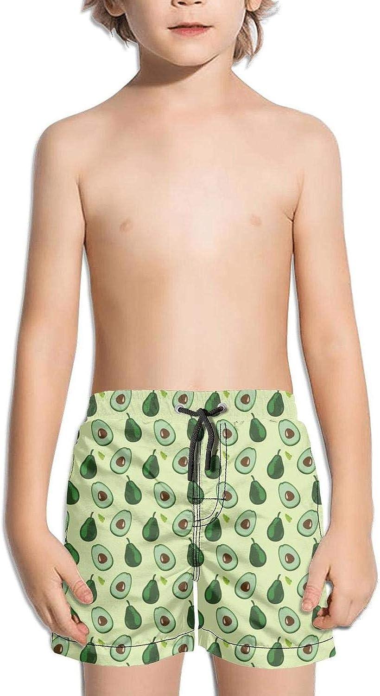 SYBING Avocado Pattern Boys Cool 4-Way Stretch Water Resistant Hawaiian Beach Board Shorts