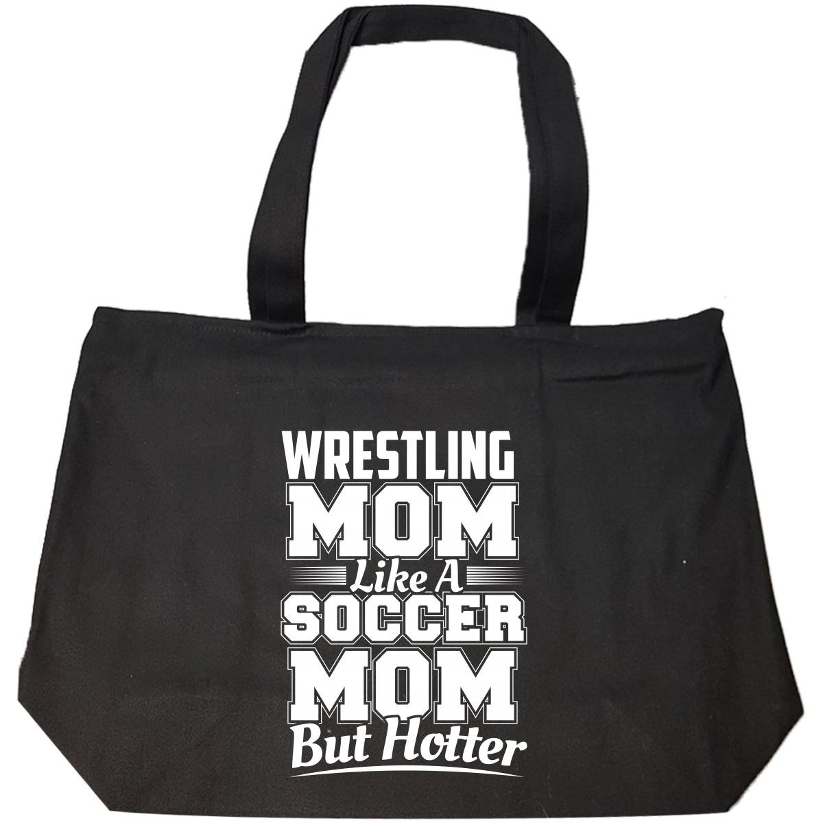 Wrestling Mom Like A Soccer Mom But Hotter - Tote Bag With Zip by Brands Banned