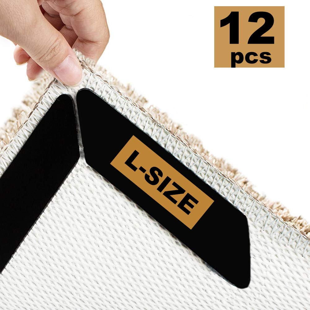 L-Size L-Size Anti Curling and Non-Slip Area Rug Pad Carpet Tapes Safe for All Flat Floors Homesafe 12 Pcs Rug Grippers Keeps Your Rug or Mat in Place and Makes Corners Flat
