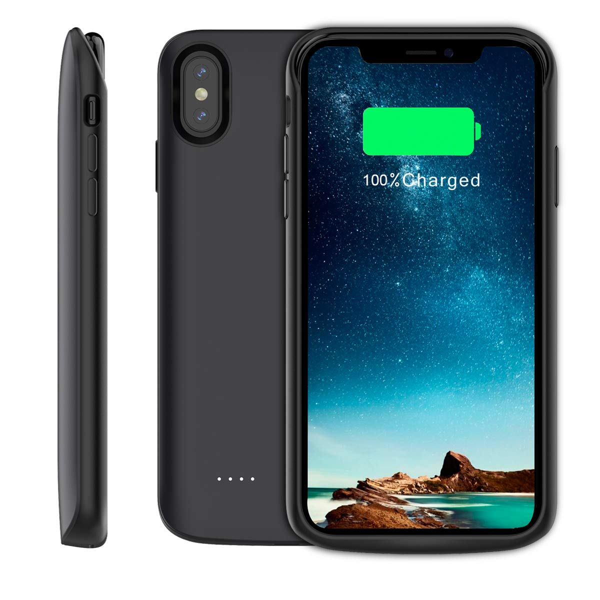 Moonmini Compatible iPhone Xs Max Battery Case, Battery Charger Case 6000Mah Rechargeable External Portable Backup Charger 6.5''(Black), Black