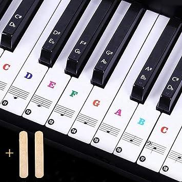 JEZOMONY Pegatinas de teclado de piano, para teclas 37/49/54/61/88, letra más grande, material diluyente transparente y extraíble, para piano, ...