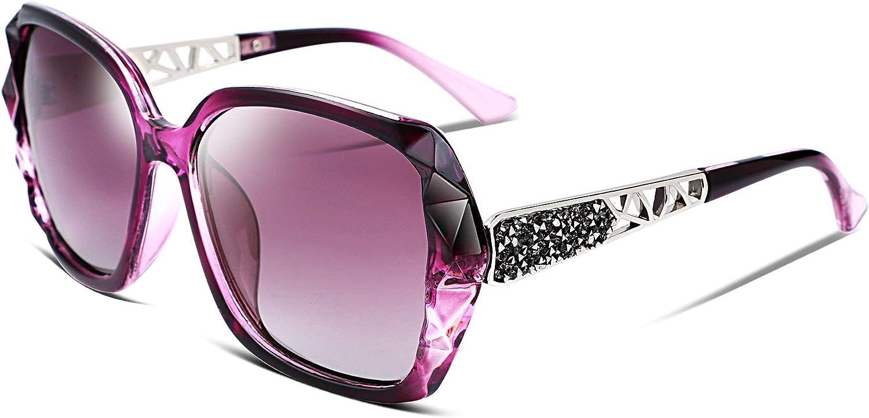 FEISEDY Classic Polarized Women Sunglasses Sparkling Composite Frame B2289