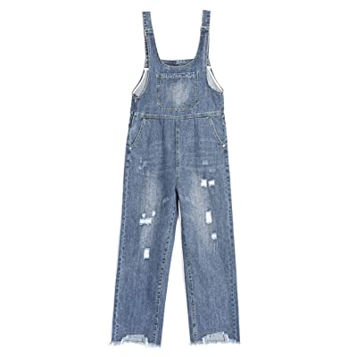 Omoone Women's Loose BF Cropped Denim Bibs Overalls Ripped Jeans Romper Jumpsuit: Clothing