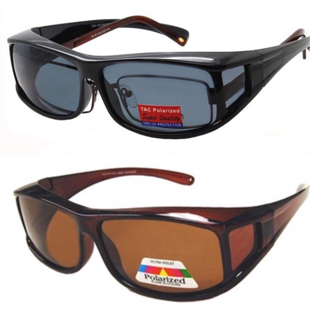 2 Pair Polarized Fit Over Wear Over Prescription Glasses Sunglasses - Italian Black/Brown