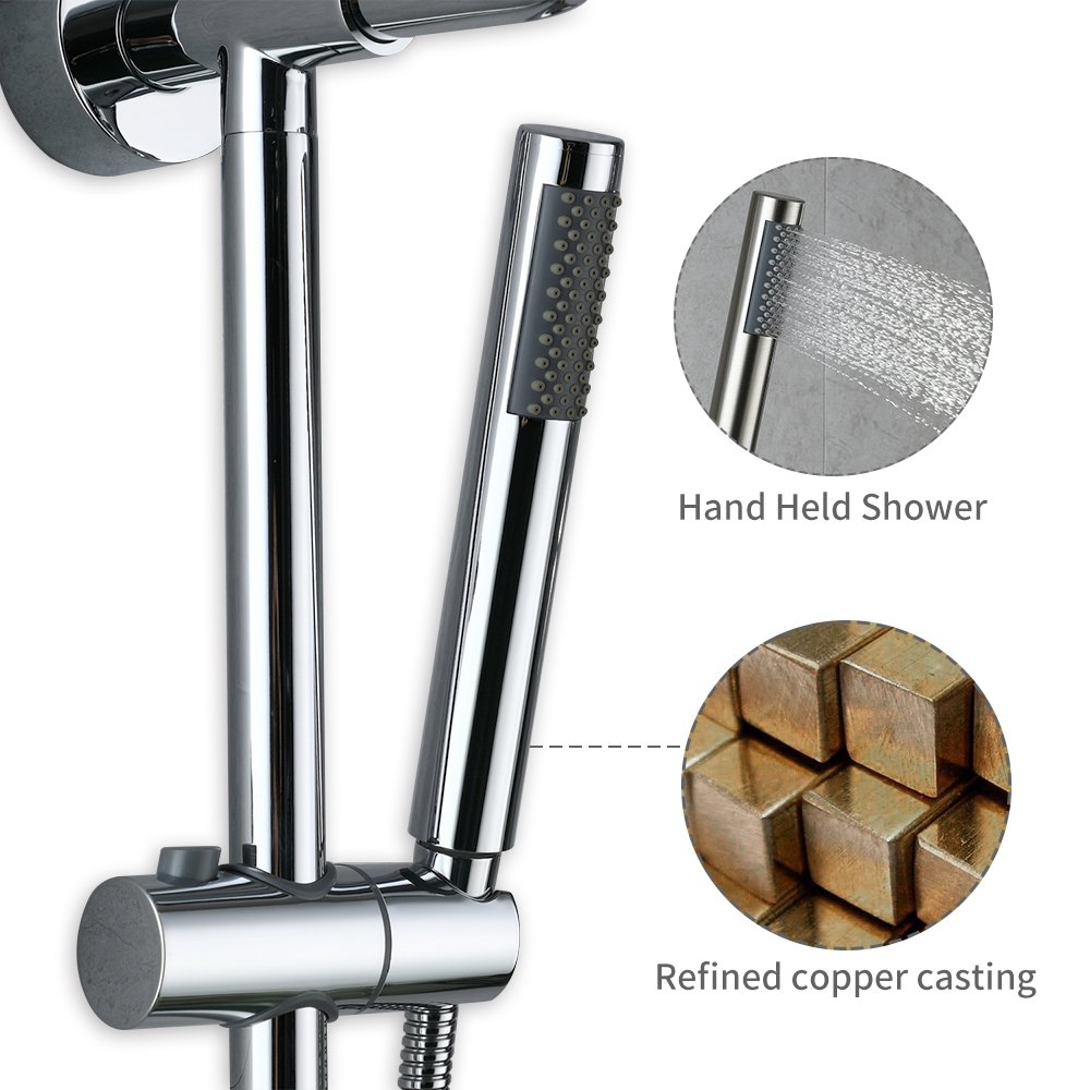HOMELODY Shower Systems with Rain Shower and Handheld, 8'' Stainless Steel Rain Shower Head, Brass Hand Held Shower Head, Adjustable Slide Bar and Brass Soap Dish, Chrome B7021CP by HOMELODY (Image #4)