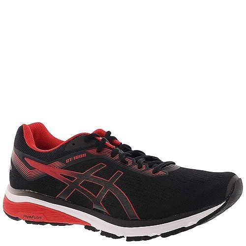 ASICS 1011A042 Men's GT 1000 7 Running Shoe, BlackRed Alert