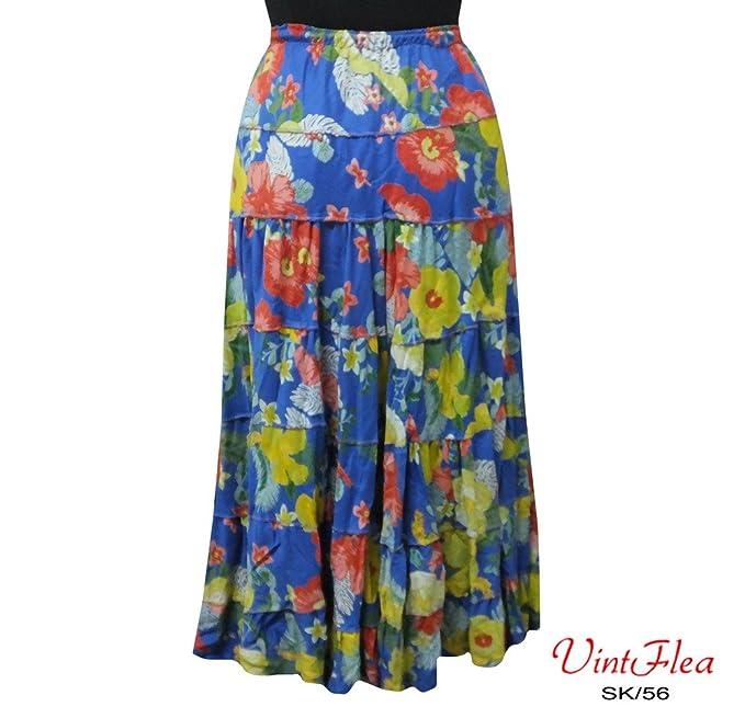 cubre vestido maxi ropa indio floral falda impresa azul de la playa ropa de mujer arriba