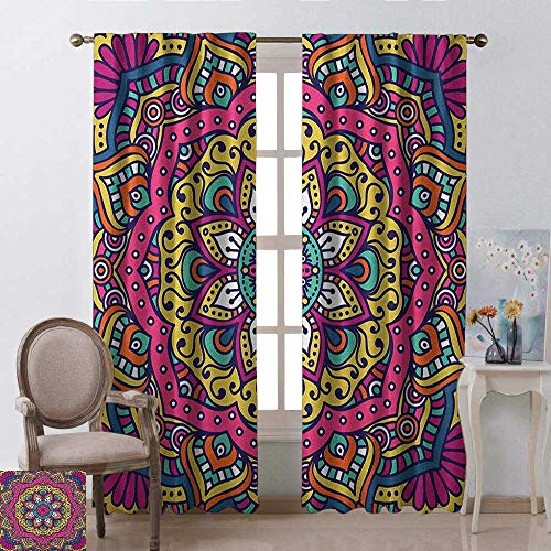 - youpinnong Mandala, Curtains Energy Efficient, Lively Colored Abstract Motif Inspired by Asian Cultures Floral Symbol of Cosmos, Curtains Kitchen Valance, W72 x L108 Inch, Multicolor