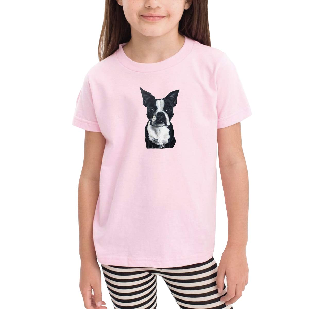 Onlybabycare Boston Terrier Dog Toddler Boys Girls Short Sleeve T Shirt Kids Summer Top Tee 100/% Cotton Clothes 2-6 T