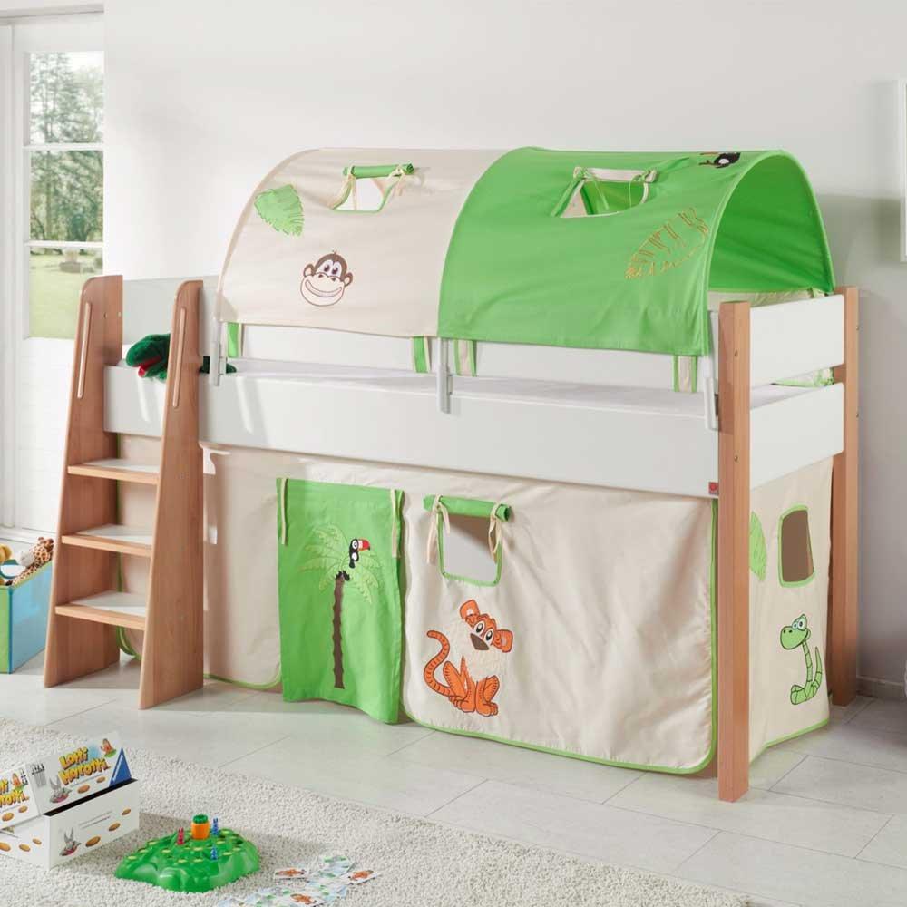 Pharao24 Halbhohes Kinderbett im Dschungel Design Turm und Tunnel