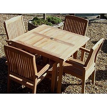 Amazon De 4 Stuhle Esstisch Quadratisch 100 Cm Teak Holz