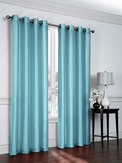 Shivam Concepts 7 ft Set of 1 Door Plain Aqua Polyester Curtains