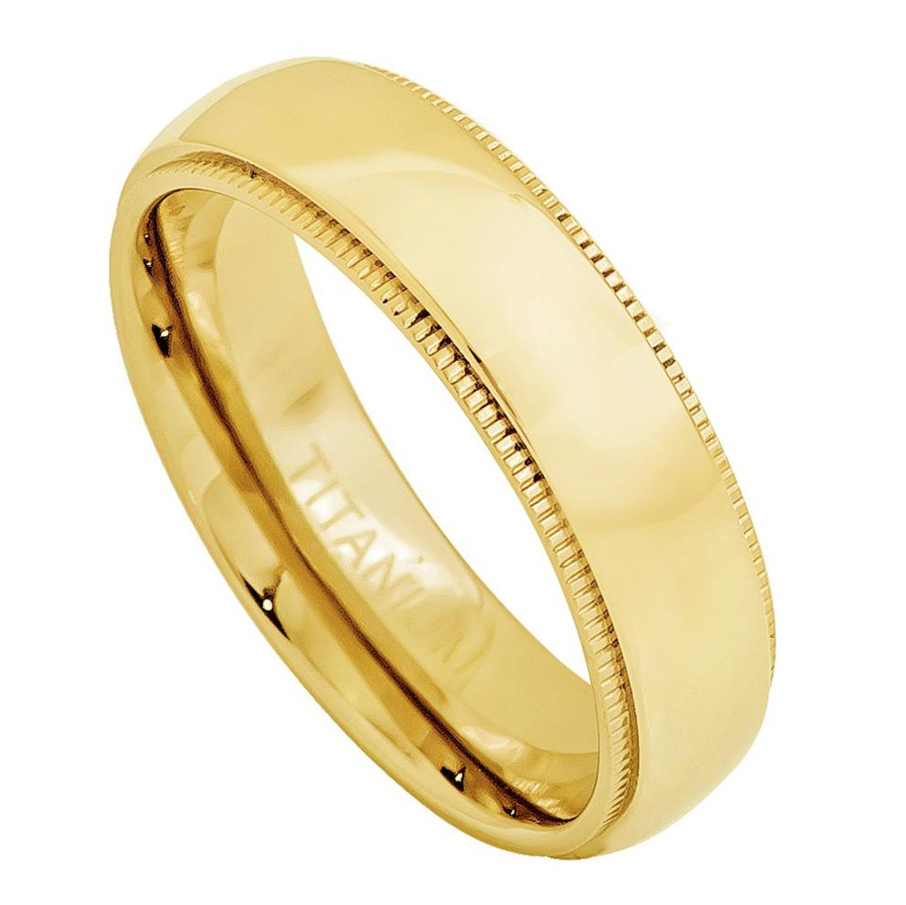 5mm Titanium Yellow Gold Plated Domed Ring with Milgrain Wedding Band Ring For Men Or Ladies