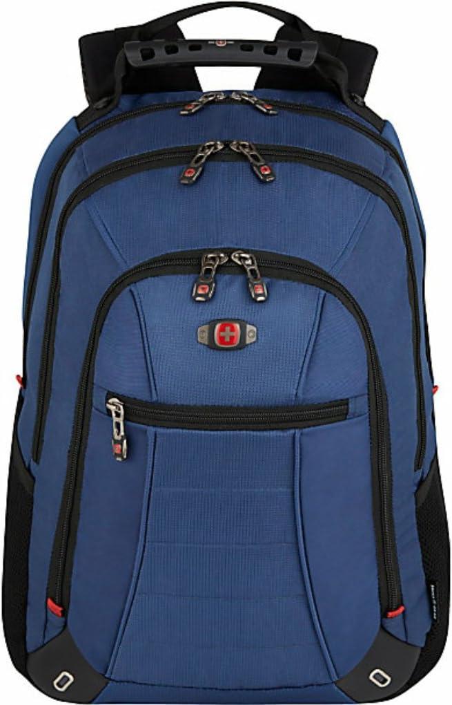 """SwissGear Skywalk Double Gusset 16"""" Padded Laptop Backpack -Black-Blue"""