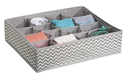 Perfect for Use in Wardrobes and as Dresser Drawer Dividers for Socks Leggings /& Bras Beautiful Wardrobe Inserts with 16 Slots Taupe Underwear Tights mDesign Chevron Wardrobe Organiser
