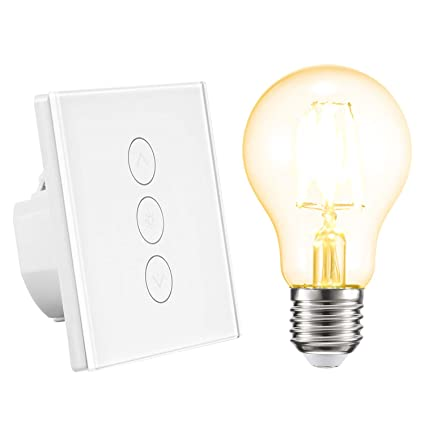 Smart Dimmer Switch Work with Alexa/Google Home/IFTTT Wall Light Switch  WiFi Touch Stepless 1 Gang APP Remote Control,Overload Protection for  Android