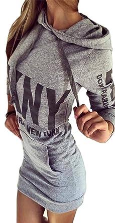 Sweat Shirt Pull Bigood Imprimé À Longue Sport Mini Robe Femme Manche Over Casual Capuche hQxtBsordC