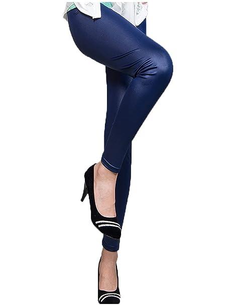 dc95243a7333e ohyeah Women's Thin Leather Pants Plus Size Legging Size US 8 Blue ...