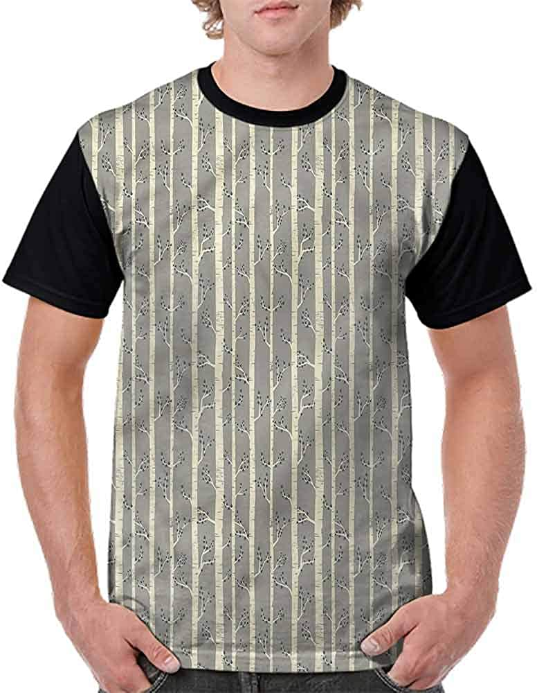 Vintage T-Shirt,Birch Stalks Leaf Foliage Fashion Personality Customization