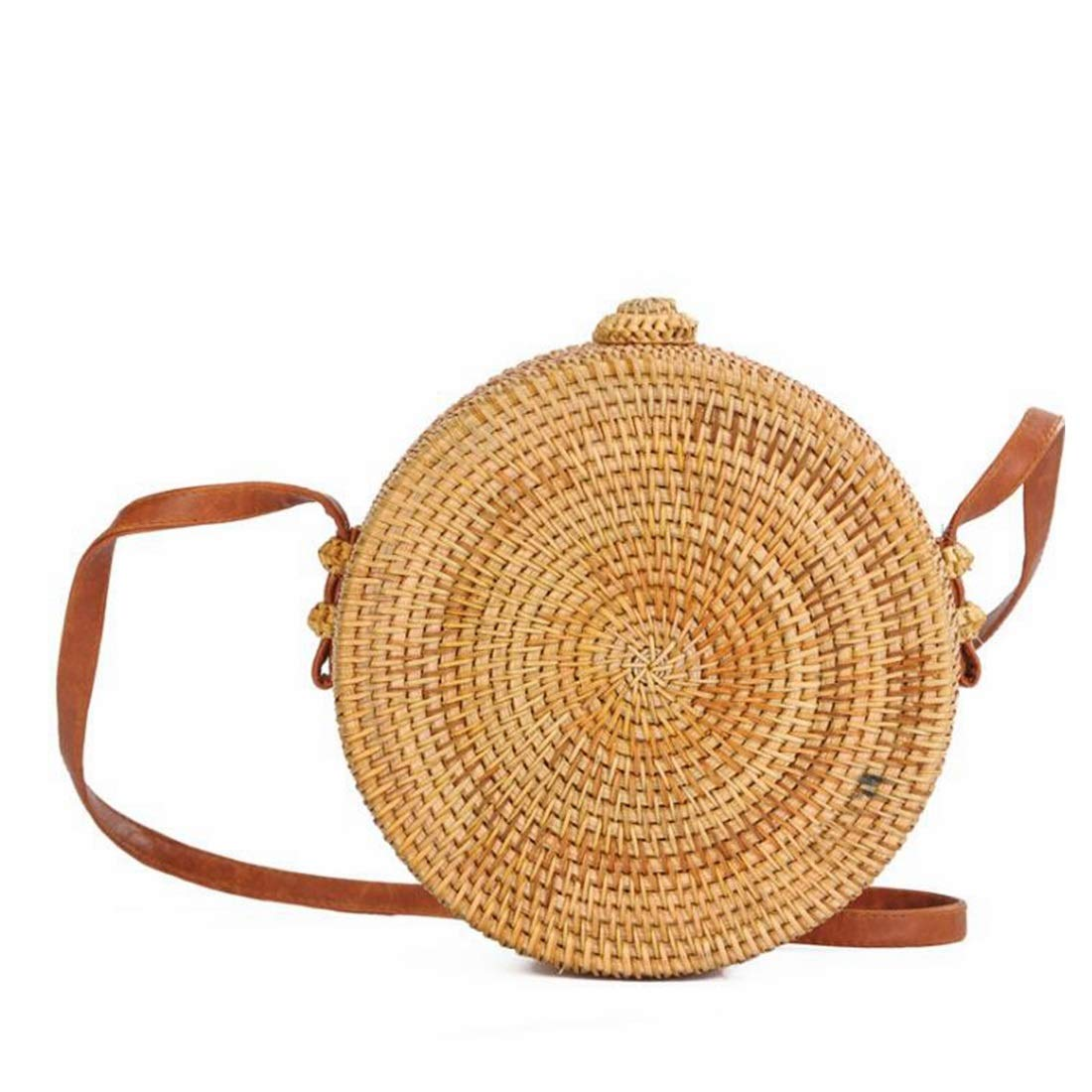LilyAngel 女性のためのラウンドストローラタンクロスボディバッグ手作りクラッチ織りハンドバッグ (Color : 2) B07KQRXF93 2