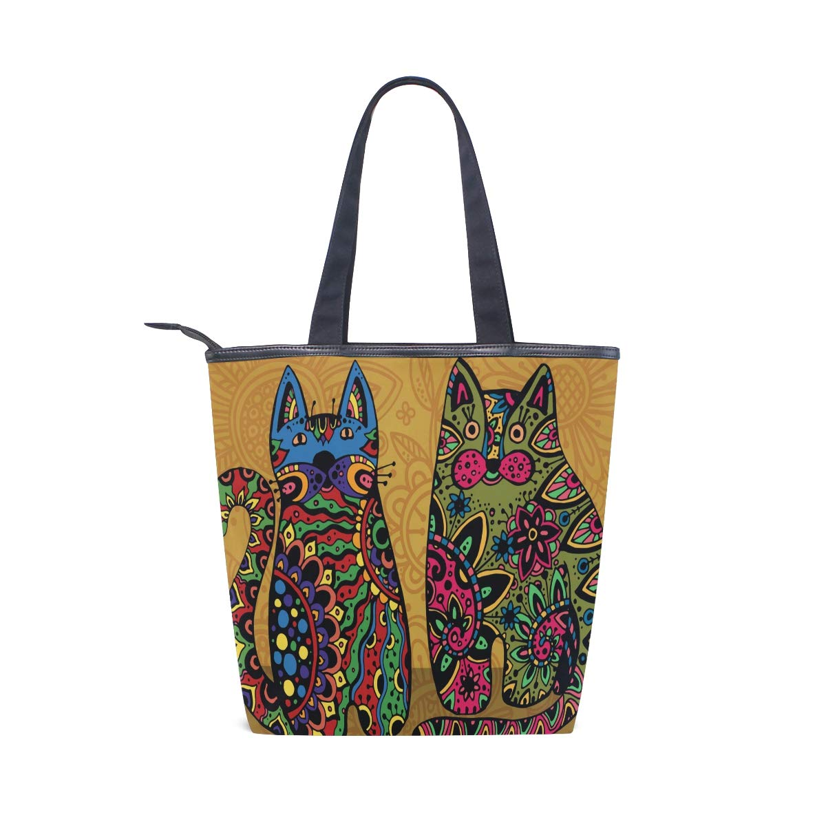 c8c19b1b5c5c1e Women Canvas Handbags Casual Shoulder Bags Tote Fashion Large Capacity Bags,  Vector Funny Cats With Floral Ornament Personality Printing Shopper Handbag  ...