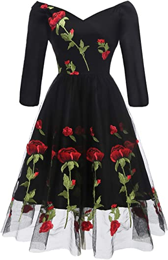 Womens Ladies Halter Neck Rose Floral Embroidery Maxi Long Party Evening Dress