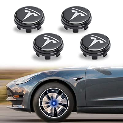 ROCCS Tesla 4PCS Wheel Logo Hub Center Caps Cover kit, Magnetic Levitation Emblem LED Light Atmosphere Tire Center Lamp for Tesla Model 3 S X (Blue): Automotive