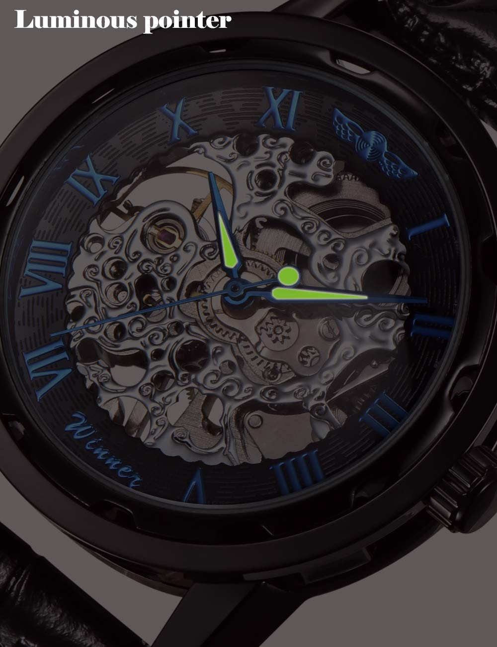 Gute Classic Steampunk Bling Automatic Mechanical Wristwatch See Through Skeleton Automatic Unisex Watch (Blue-Black) 5