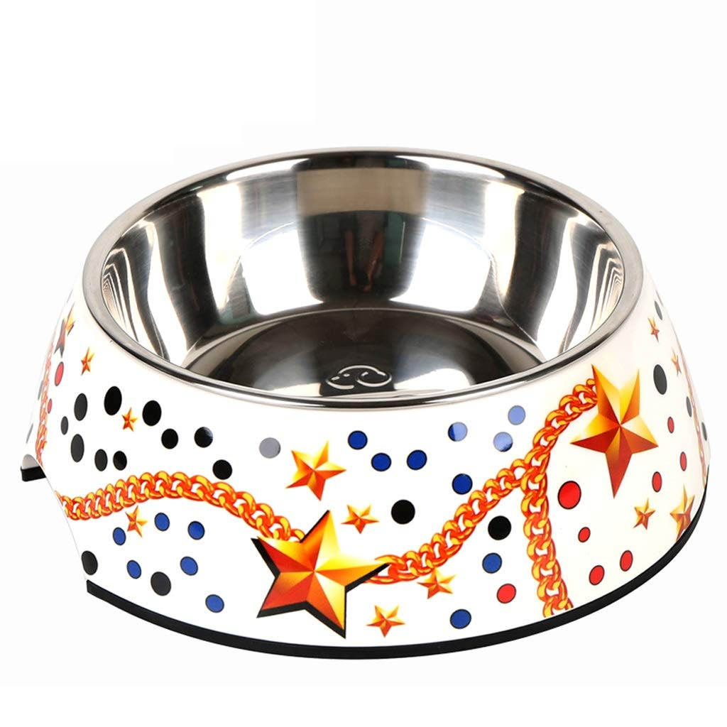 KTYX Dog Bowl Non-Slip Stainless Steel Pet Rice Bowl Puppy Bowl Teddy Bowl (Star) Pet Bowl