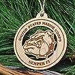 Wooden Marine Corps Devil Dog Christmas Ornament