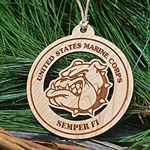 Wooden Marine Corps Devil Dog Christmas Ornament
