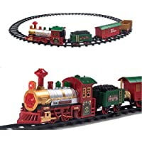 Pusiti Classic Christmas Train Set Toys Railway Tracks with Lights and Sounds Battery Operated Locomotive Engine Coach Cargo Car Coal Car and 11.5 Ft Tracks Playset for Under The Tree Gift for Kids