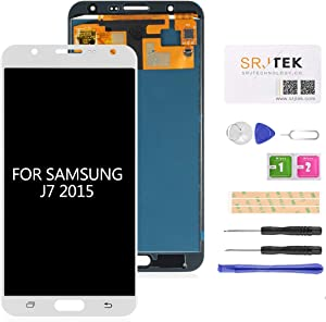 for Samsung J700 LCD Screen Replacement-SRJTEK Screen Replacement for Samsung Galaxy J7 2015 J700 J700T J700F J700H J700M SM-J700 LCD Touch Screen Digitizer Glass Display Assembly Parts (White)