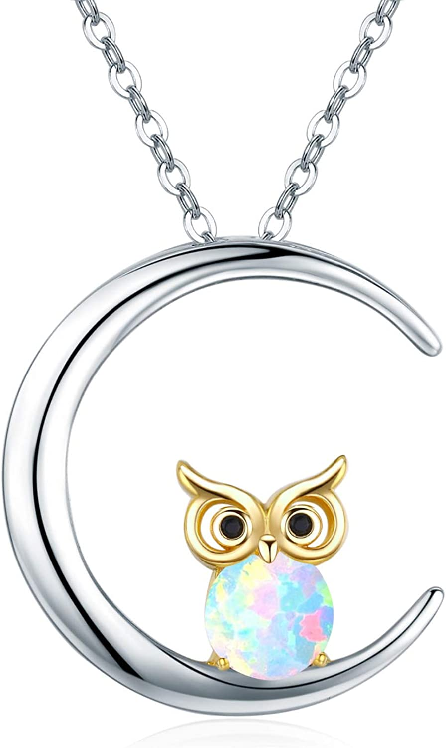 Rose Gold White Opal Owl in Heart Necklace; Rose Gold Opal Owl Charm; 925 Opal Owl Jewelry; White Opal Owl Heart Necklace Infinity Close