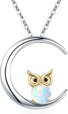 Owl Necklace Gift Moon Necklace FREE SHIPPING USA Owl Gifts Moon Pendant Owl Pendant Owl Jewelry Necklace Moon Moon Jewelry