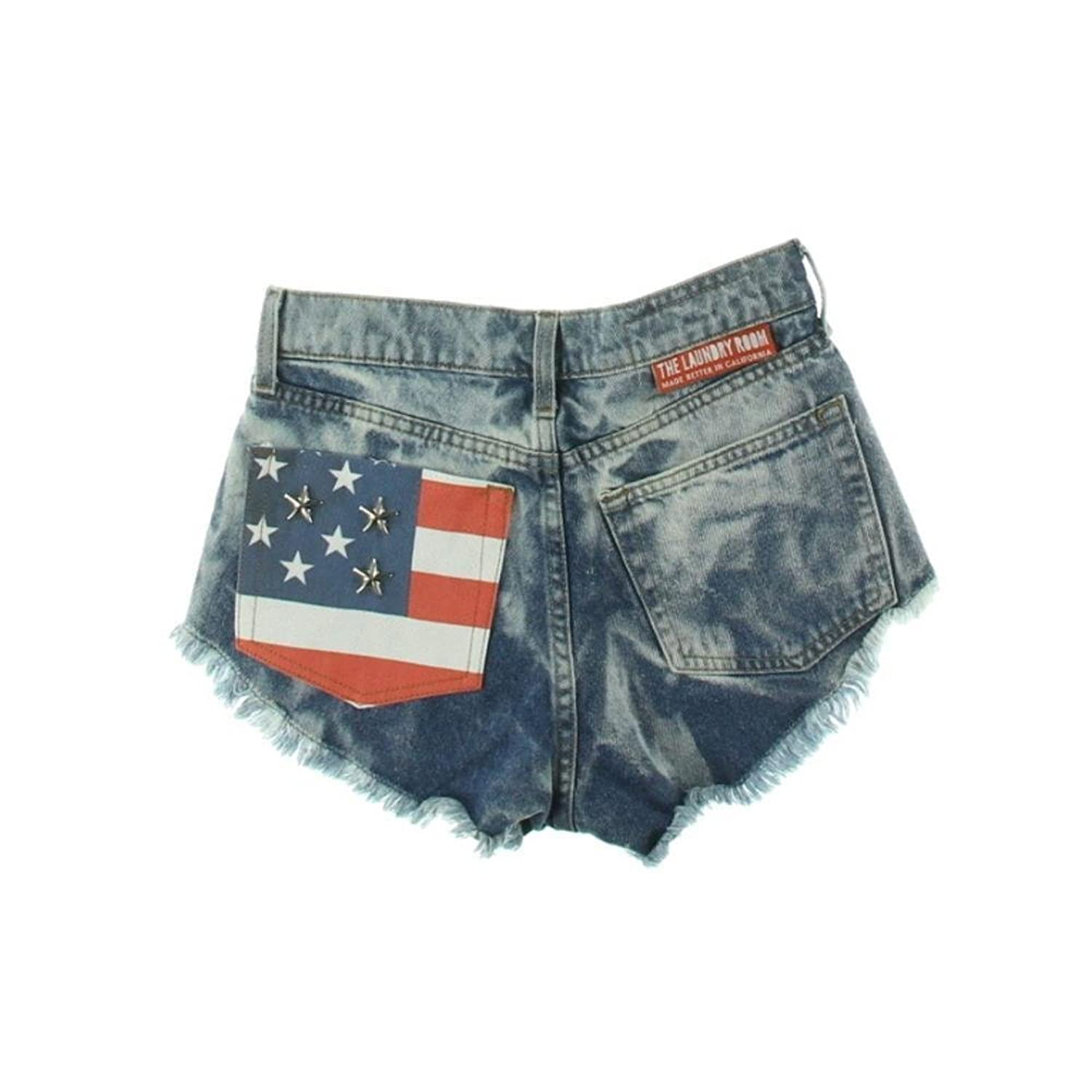 The Laundry Room American Flag Embellished Destroyed Cutoff Denim Shorts Size 27