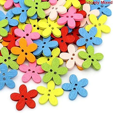 SiAura Material 10x Boutons en Bois avec Motif Fleurs XXL