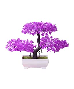 dezirZJjx Artificial Plants Welcoming Pine Bonsai Simulation Artificial Potted Plant Ornament Home Decor - Rose Red