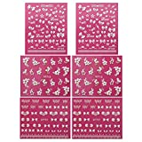 Wrapables A68853 Fingernail Stickers Nail Art Nail Stickers Self-Adhesive Nail Stickers 3D Nail Decals - Bows, Hearts and Flowers (3 designs/6 sheets)